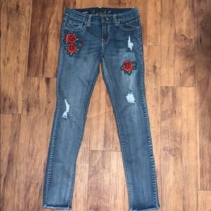 Girls Patch work Distressed skinny jeans